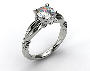 14k White Gold Pinched Bombay Engagement Ring