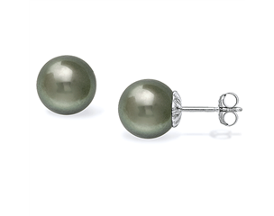 14k White Gold 11-12mm Tahitian Pearl Stud Earrings