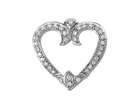 14k White Gold 1/4cttw Diamond Heart Pendant Slide