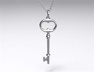 18k White Gold Classic Key Pendant (Large)