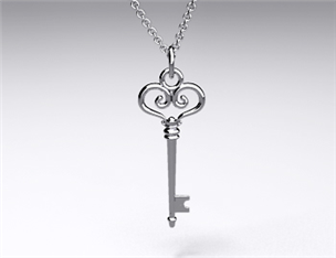 18k White Gold Heart Scroll Key Pendant (Large)