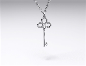 18k White Gold Mini-Intertwined Diamond Key Pendant (0.02ctw)
