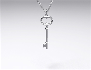 18k White Gold Mini-Classic Key Pendant
