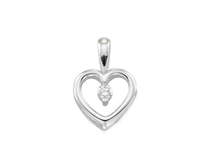 14k White Gold 0.07ct Diamond Heart Pendant