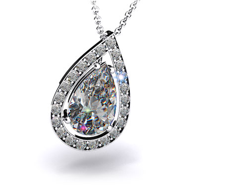 18k White Gold Pave Set Frame Diamond Pendant Setting