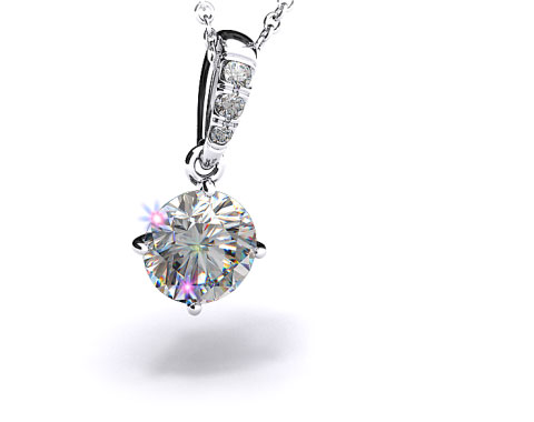 Platinum Pave Bail Diamond Pendant Setting
