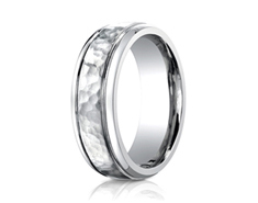 Cobaltchrome 7mm Comfort-Fit Hammered Design Ring
