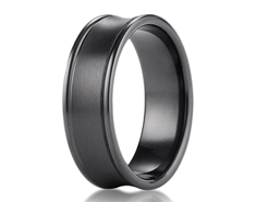 Black Titanium 7.5mm Comfort-Fit Satin-Finished Concave Round Edge Carved Design Ring 11570BT