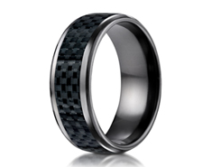 Black Titanium 8mm Comfort-Fit Carbon Fiber Inlay Design Ring 11574BT