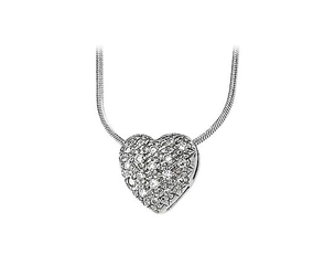 14k White Gold 1/3cttw Diamond Heart Pendant Slide On Chain