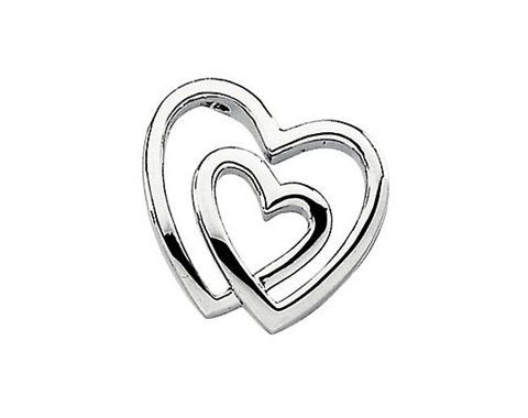 14k White Gold Polished Double Heart Pendant