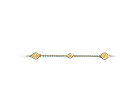 18k Yellow Gold Circular Design Diamond Bracelet 0.02ctw