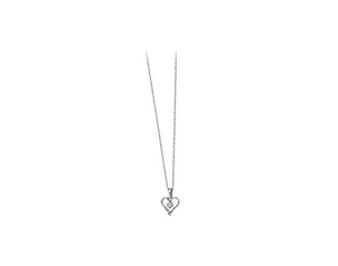 14k White Gold Diamond Heart Pendant with Chain 0.03ct