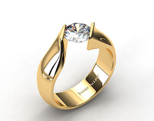14k Yellow Gold Contoured Twist Tension Set Engagement Ring