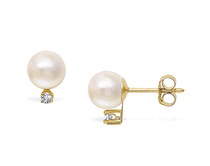 14k Yellow Gold 6-6.5mm Akoya Pearl & Diamond Stud Earrings