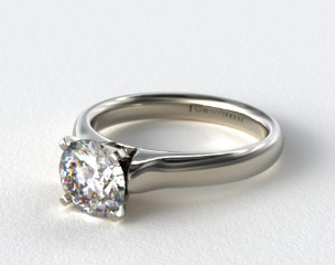18k White Gold Heavy Contour Solitaire Engagement Ring
