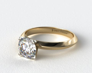 18K Yellow Gold 2.5mm Knife Edge Solitaire Engagement Ring