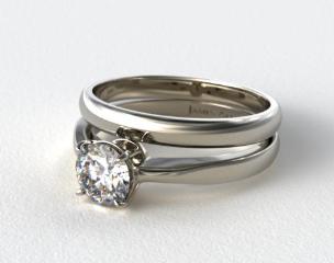 Platinum 2.2mm Wire Basket Solitaire Ring & Made to Match 2.5mm Half Round Wedding Ring