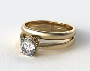18k Yellow Gold 2.2mm Wire Basket Solitaire Ring & a Made to Match 2.5mm Half Round Wedding Ring