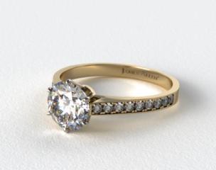 14k Yellow Gold 2.6mm Six Prong Pave Diamond Engagement Ring