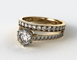 18k Yellow Gold 2.6mm Six Prong Pave Diamond Engagement Ring & 0.42ct Pave Set Wedding Ring