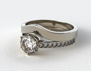 Platinum 2.6mm Six Prong Pave Diamond Engagement Ring & 2.7mm Curved Wedding Band