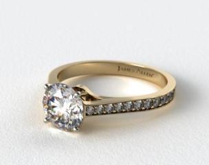 18k Yellow Gold 2.2mm Pave Diamond Engagement Ring