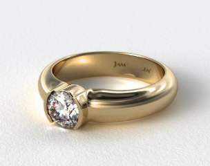 18K Yellow Gold 5.4mm Half-Bezel Diamond Solitaire Setting