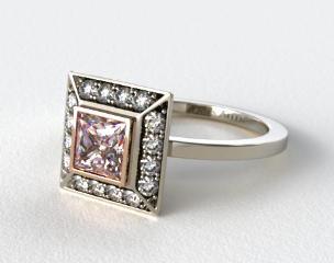 18k White Gold 0.33ct Frame Pave Set Diamond Engagement Ring (Rose Gold Basket)