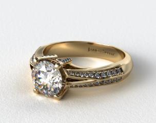 14k Yellow Gold Split Shank Knife-Edge Pave Engagement Ring