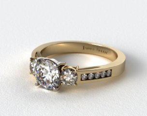 14k Yellow Gold Round Shaped Three Stone Channel Set Diamond Engagement Ring