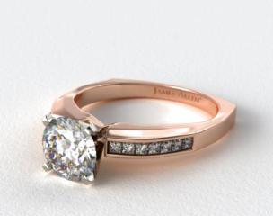 14K Rose Gold Channel Set Squared Shank Princess Shaped Engagement Ring