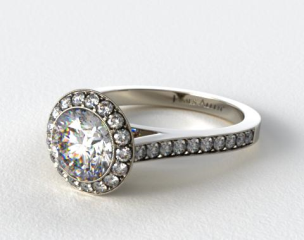 Platinum 0.48ctw Halo Pave Set Diamond Engagement Ring