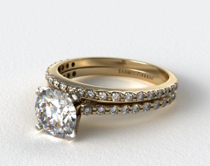 18k Yellow Gold Common Prong Round Shaped Diamond Engagement Ring & Common Prong Wedding Ring