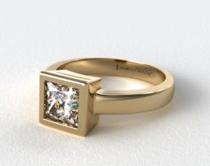 18k Yellow Gold Bezel Set Princess Shaped Diamond Solitaire Ring