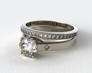 14k White Gold Cross Prong Diamond Accent Solitaire Ring & 0.63ct Channel Set Wedding Ring