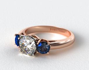 14K Rose Gold Three Stone Round Blue Sapphire Engagement Ring