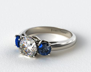 18K White Gold Three Stone Round Blue Sapphire Engagement Ring