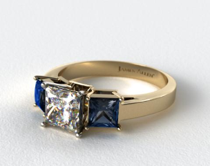 18k Yellow Gold Three Stone Princess Shaped Blue Sapphire Engagement Ring