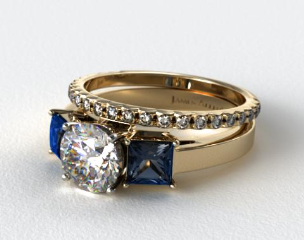 18k Yellow Gold Three Stone Princess Shaped Blue Sapphire Engagement Ring & French Cut Pave Wedding Ring
