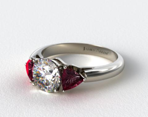 14k White Gold Three Stone Trillion Shaped Ruby Engagement Ring