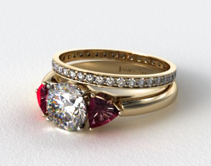 18k Yellow Gold 3-Stone Ruby Trillion Engagement Ring & 0.26ct Pave Eternity Band