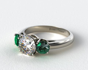 Platinum Three Stone Round Emerald Engagement Ring