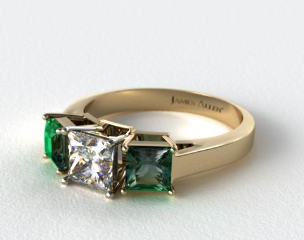 14k Yellow Gold Three Stone Step-Cut Emerald Engagement Ring