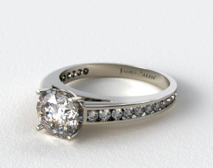 14k White Gold Channel Set Round Diamond Engagement Ring