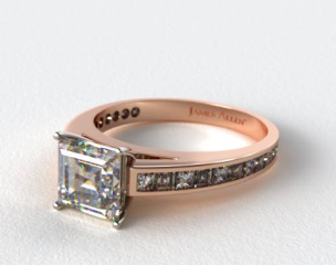 14k Rose Gold Channel Set Carre and Princess Shaped Diamond Engagement Ring