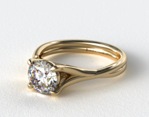 18K Yellow Gold Twisted Shank Contemporary Solitaire