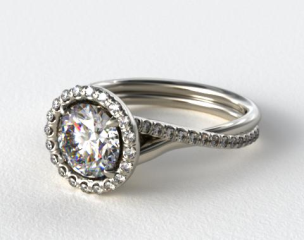Platinum Pave Halo and Twisted Shank Solitaire