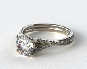 18K White Gold Twisted Pave Shank Engagement Ring