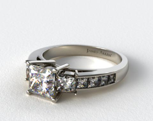 18k White Gold Princess Shaped Three Stone Channel Set Diamond Engagement Ring
